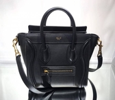 ■現貨在台■專櫃8折■Celine 瑟琳 袖珍型平滑小牛皮 Nano Luggage 可斜背2用包 金釦黑色