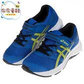 《布布童鞋》asics亞瑟士藍黃色慢跑兒童機能運動鞋(17~21.5公分) [ J9A048B ]