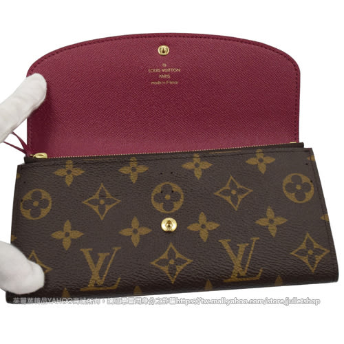 Louis Vuitton M60697 EMILIE 新款經典花紋扣式零錢長夾.紅 全新 現貨【茱麗葉精品】