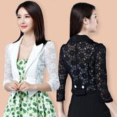 短西裝外套 女新款韓版蕾絲夏百搭短款外搭薄款 LR1284【歐爸生活館】