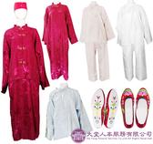 【大堂人本】中式女性壽衣 五件七層 旗袍(蠶絲)紫紅組合。