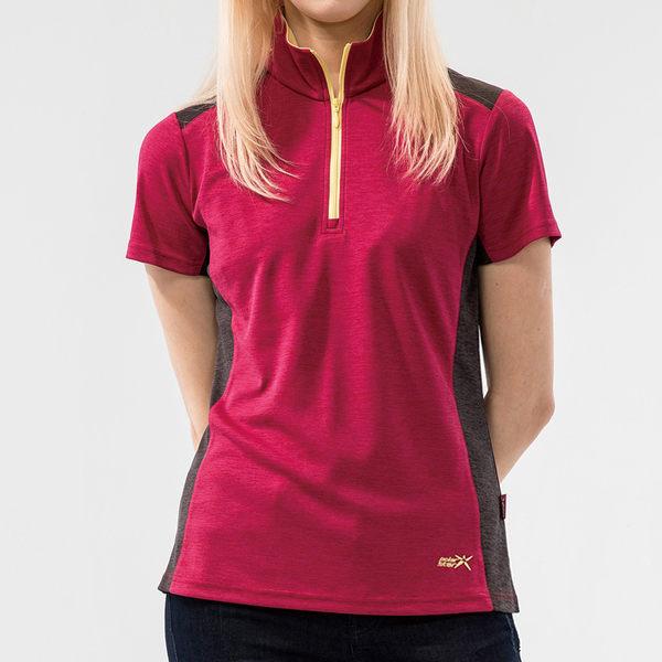 PolarStar 女 吸排短袖立領上衣『紫紅』P19156 露營.戶外.吸濕.排汗.透氣.保暖.快乾.輕量.排汗衣