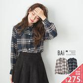 襯衫 配色格紋綁蝶結排扣磨毛上衣-BAi白媽媽【161050】