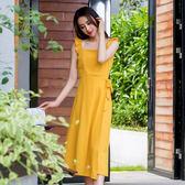 VK旗艦店 韓國風氣質木耳花邊吊帶收腰修身下擺開叉長裙無袖洋裝