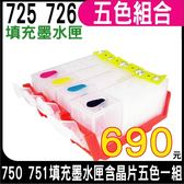 【五色空匣含晶片】CANON 725+726 五色一組 填充式墨水匣