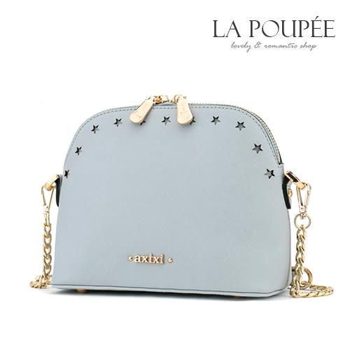 側背包 可愛優雅星星鏤空十字紋小貝殼包 氣質灰藍 -La Poupee樂芙比質感包飾 (現貨)