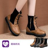 【快速出貨】歐美英倫學院風拼布拉鍊綁帶圓頭中筒鞋/4色/35-43碼 (RX1165-HQ3030) iRurus 路絲時尚