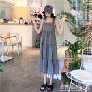 韓版格子荷葉邊洋裝吊帶裙中長款背帶裙女裝...