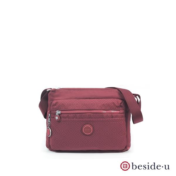 BESIDE-U BYE 印花圖騰日常外出斜背包側背包 - 酒紅色 原廠公司貨