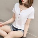 V領短袖t恤女純棉修身顯瘦2021新款夏裝韓版百搭白色上衣服ins潮【快速出貨】