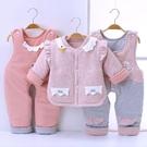 限定款鋪棉套裝 嬰兒冬裝套裝女0-1-2歲棉質棉衣寶寶加厚保暖棉襖冬季棉服三件組