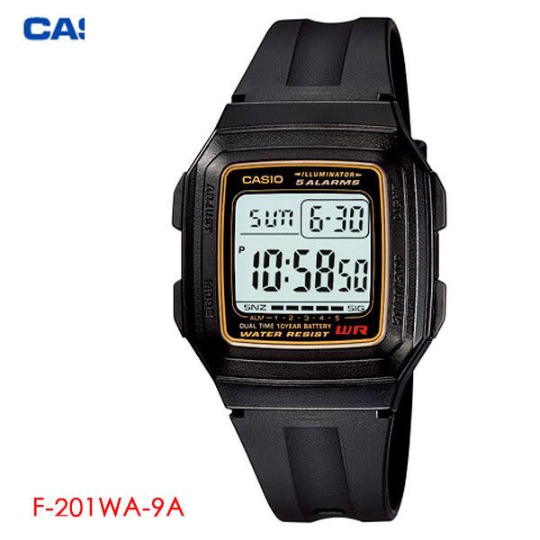 【名人鐘錶】CASIO 黑金大數字清晰方形鬧鈴電子錶・F-201WA-9A・學生錶・兒童錶・當兵軍用・公司貨