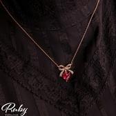 項鍊 韓國直送‧水鑽蝴蝶結寶石愛心鎖骨項鍊-Ruby s 露比午茶