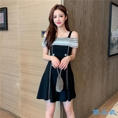 洋裝 新款夏季壓褶雪紡拼接吊帶連身裙氣質赫本小黑裙顯瘦