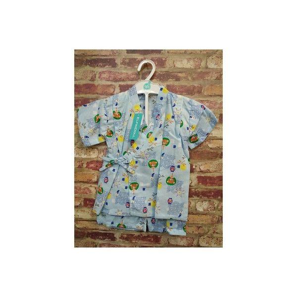 《西松屋》日本帶回【蜻蜓祭典煙火小熊扇款】日本製 日本傳統兒童浴衣/甚平/和服 衣+褲