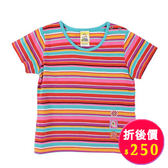 【愛的世界】純棉圓領橫紋短袖T恤/3歲-台灣製- ★春夏上著