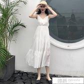 洋裝 夏季女裝百搭甜美V領荷葉邊吊帶裙收腰顯瘦無袖V領洋裝 韓慕精品