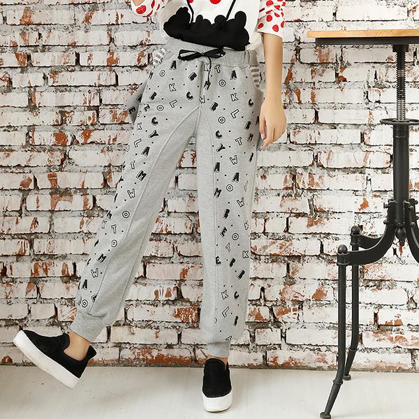 運動褲女春秋季新款女士衛褲純棉大碼寬鬆顯瘦鉛筆褲rough休閒斑點褲雙十二