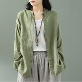 亞麻衣女 夏季新款復古文藝長袖純色大碼棉麻襯衫女士亞麻寬鬆開衫上衣 艾莎