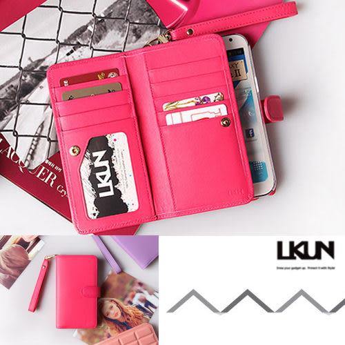 【韓國原裝 LKUN】Samsung Note2 N7100 專用保護皮套 100%高級牛皮 多功能手機皮套&錢包完美結合 (玫紅)