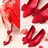 婚禮鞋 紅色蝴蝶結婚鞋子女韓版百搭新娘紅鞋貓跟高跟婚禮鞋「七色堇」