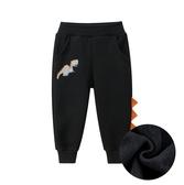 恐龍貼布造型厚棉絨運動褲 男童 長褲 棉褲 縮口褲 運動褲 褲子 男童 童裝 兒童 橘魔法 現貨