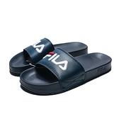 FILA (偏小建議大一號) 深藍 皮革 黑紅LOGO 基本款 防水 大刺繡 運動 拖鞋 男女(布魯克林) 4S313T331