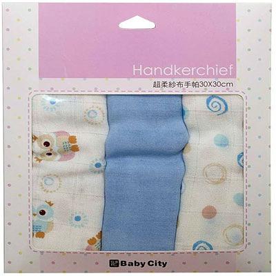 【佳兒園婦幼館】Baby City  超柔紗布手帕3入 - 卡其