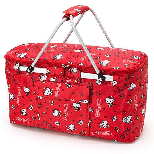 【震撼精品百貨】Hello Kitty 凱蒂貓~HELLO KITTY可折式野餐提籃(元氣小物紅)