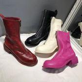中筒靴 guidi倒靴310馬丁靴女春秋單靴前拉鍊中跟短靴真皮女靴pl2 唯伊時尚