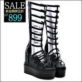 克妹Ke-Mei【ZT45726】歐洲站  心機系内增高厚底坡跟皮質羅馬靴型高跟鞋涼鞋