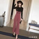 闊腿喇叭背帶褲女 2020新款韓版時尚寬鬆百搭高腰吊帶連體九分褲 yu11583