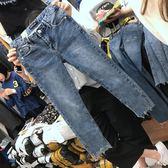 【優選】胖妹妹春裝大碼女裝胖褲子修身牛仔褲女九分
