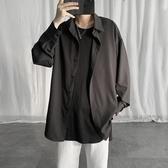 (快出)冷淡風夏季襯衫男士DK小眾設計感ins韓版潮流襯衣潮