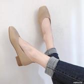 豆豆鞋 豆豆鞋女秋季新款韓版粗跟淺口方頭溫柔單鞋百搭仙女奶奶鞋潮 夢露時尚女裝