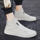 高筒鞋2020新款春季男鞋高筒男士夏季潮流百搭休閒帆布板鞋小白布鞋潮鞋 貝芙莉