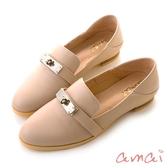 amai 凱莉釦裝飾輕便休閒樂福鞋 杏