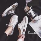 半拖帆布鞋女學生韓版淺口小白鞋女春款夏懶人鞋女一腳蹬平底