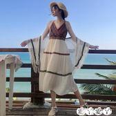 沙灘裙 夏裝女裝新款民族風雪紡披肩防曬衣 沙灘吊帶裙中長款連身裙【全館九折】