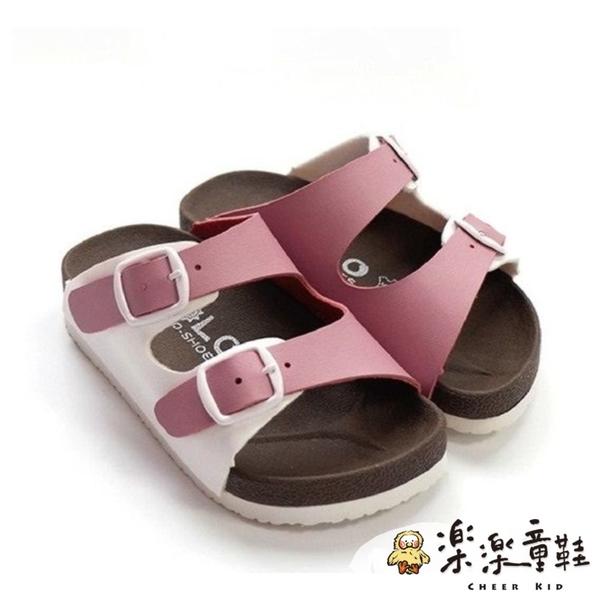 【樂樂童鞋】台灣製跳色小方扣拖鞋-咖啡色 C007 - 台灣製 男童鞋 女童鞋 拖鞋 親子鞋 現貨 勃肯鞋