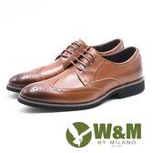 W&M  貴族精緻壓紋綁帶男皮鞋-棕(另有黑)