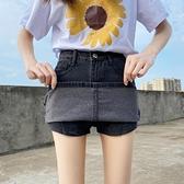 褲裙 牛仔裙半身裙女夏季2021新款包裙高腰薄款a字裙包臀裙褲灰色短裙 晶彩 99免運