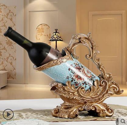 歐式複古家居裝飾品創意禮品擺設酒架酒櫃樹脂紅酒架客廳擺件