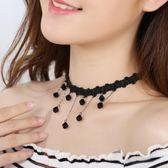 流蘇韓國項鍊女蕾絲短款飾品黑色項圈個性