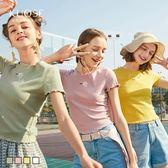闊色2019春夏新款韓版女裝學生白色針織修身木耳邊短袖T恤