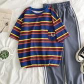 短袖T恤 超火女條紋新款寬鬆韓版百搭口袋刺繡中長款上衣潮 - 雙十二交換禮物