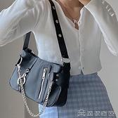手提包 小眾設計腋下包新款歐美潮流尼龍布鍊條手提女包法棍包【免運快出】