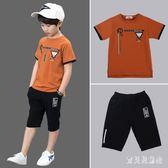 男童套裝 短袖2019新款韓版潮中大童夏季小孩衣服兒童兩件套 BT3402『寶貝兒童裝』