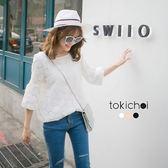 東京著衣-優雅蕾絲花朵袖口綁結上衣-S.M(170472)