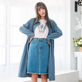 大衣外套--知性優雅排扣口袋寬鬆長版加絨襯衫領長袖牛仔外套(藍L-4L)-J241眼圈熊中大尺碼